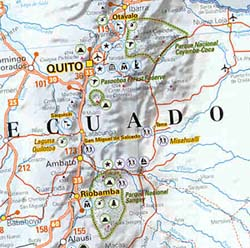 Peru, Colombia, Venezuela, and Ecuador, Road and Shaded Relief Tourist Map.