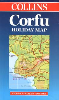 """Corfu Island, Road and Shaded Relief """"Holiday"""" Map, Greece."""