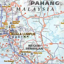 Singapore and Malaysia, Road and Tourist Map.