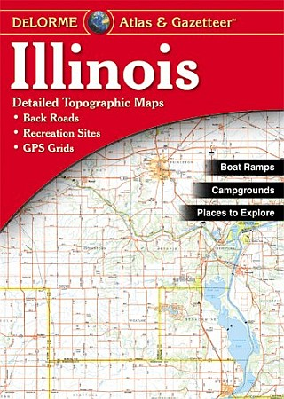 Illinois Road, Topographic, and Shaded Relief Tourist ATLAS and Gazetteer, America.