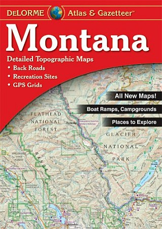 Montana Road, Topographic, and Shaded Relief Tourist Road ATLAS and Gazetteer, America.