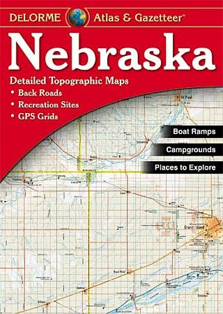 Nebraska Road, Topographic, and Shaded Relief Tourist ATLAS and Gazetteer, America.