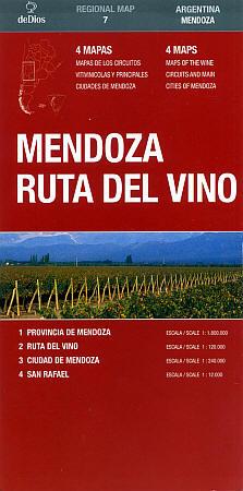 Mendoza Ruta del Vino Regional Road and Tourist Map.