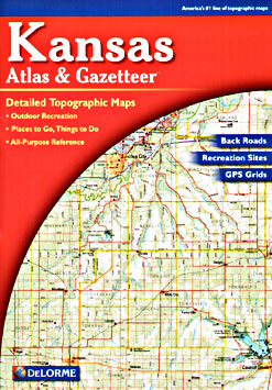 Kansas, Road, Topographic, and Shaded Relief Tourist ATLAS and Gazetteer, America.