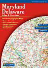 Maryland and Delaware, Road, Topographic, and Shaded Relief Tourist ATLAS and Gazetteer, America.