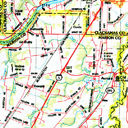 Oregon Road, Shaded Relief and Topographic Tourist ATLAS and Gazetteer, America.