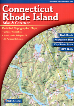 Connecticut and Rhode Island, Road, Topographic, and Shaded Relief Tourist ATLAS and Gazetteer, America.