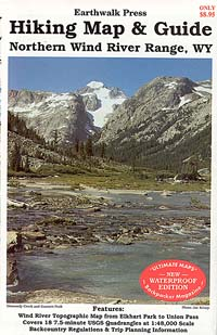 Wind River Range Northern, Road and Recreation Map, Wyoming, America.