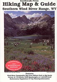Wind River Range Southern, Road and Recreation Map, Wyoming, America.