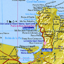 Baja California Road and Shaded Relief Tourist Atlas.