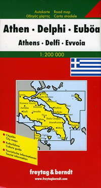 Athens, Delphi, and Euboea, Regional Road and Tourist Map, Greece.