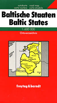 Baltic States Road and Shaded Relief Tourist Map.