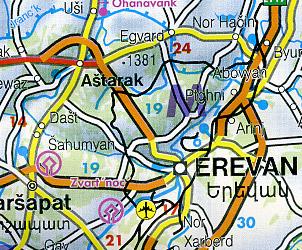 Caucasus Region (Georgia Republic, Armenia, and Azerbaijan), Road and Shaded Relief Tourist Map, Caucasus Mountains.