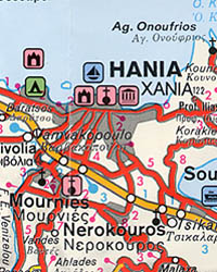 Crete Island, Road and Shaded Relief Tourist Map, Greece.