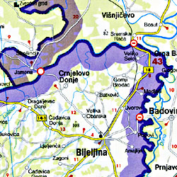Slovenia, Croatia, and Bosnia-Herzegovina, Road and Shaded Relief Tourist Map.