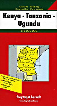 East Africa: Kenya, Tanzania, and Uganda, Road and Tourist Map.