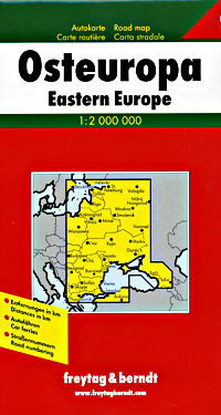 Eastern Europe Road and shaded Relief Tourist Map.