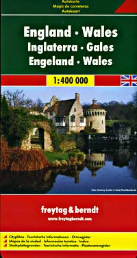 England and Wales, Road and Shaded Relief Tourist Map.