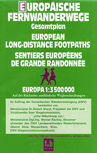"""Europe Long Distance """"FOOTPATHS"""" Road and Shaded Relief Tourist Map."""