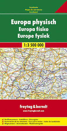 """Europe """"Physical"""" Road and Shaded Relief Tourist Map."""