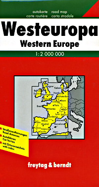 a. Western Europe Road and Shaded Relief Tourist Map.