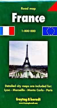 Freytag-Berndt Road Map of France, Travel, Tourist, Detailed.