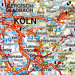 Germany Road and Shaded Relief Tourist Map.