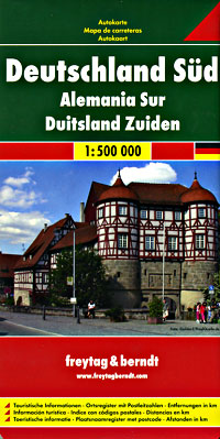 Germany, Southern, Road and Shaded Relief Tourist Map.