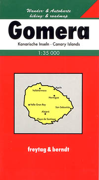 Gomera Island, Road and Shaded Relief Tourist Map, Canary Islands, Spain.
