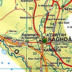Iran Road and Shaded Relief Tourist Map.
