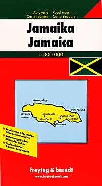 Jamaica Road and Shaded Relief Tourist Map.