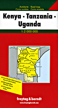 """Kenya, Tanzania and Uganda (""""East Africa"""") Road and Shaded Relief Tourist Map."""
