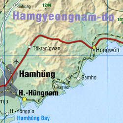 Korea, North and South, Road and Shaded Relief Tourist Map.