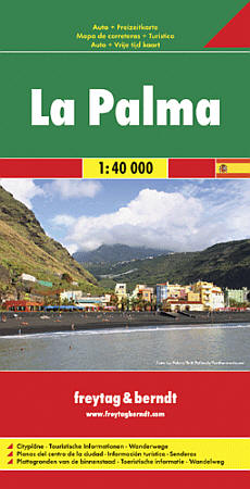 La Palma Island, Road and Shaded Relief Tourist Map, Canary Islands, Spain.