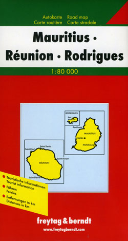 Mauritius and Reunion Islands, Road and Tourist Map, Indian Ocean.