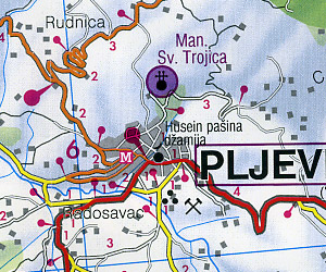 Montenegro Road and Shaded Relief Tourist Map.