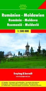 Moldova and Romania Road and Shaded Relief Tourist Map.