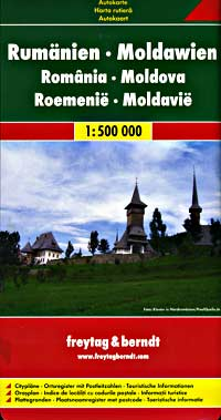 Romania and Moldova Road and Shaded Relief Tourist Map.