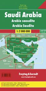 Saudi Arabia, Road and Shaded Relief Tourist Map.