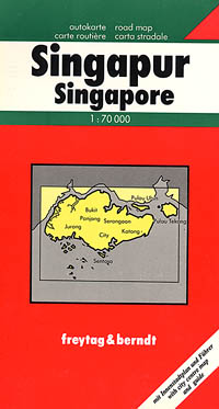 Singapore Island, Road and Tourist Map.