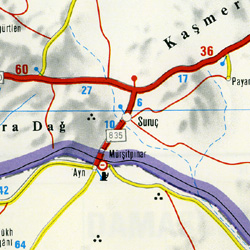Syria, Road and Shaded Relief Tourist Map.