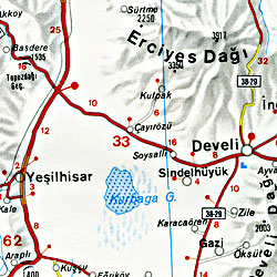 Turkey and Western Turkey, Road and Shaded Relief Tourist Map.