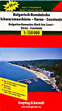 Varna and the Black Sea Coast, Road and Shaded Relief Tourist Map, Bulgaria.