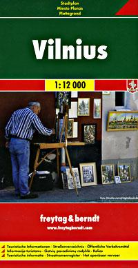 """VILNIUS, Lithuania. Scale 1:12,000. Size 37""""x49"""". Freytag & Berndt edition."""