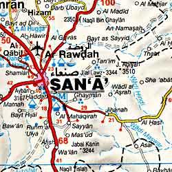 Yemen, Road and Tourist Map.