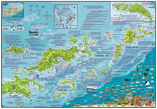 British Virgin Islands Guide and Dive, Road and Recreation Map, America.