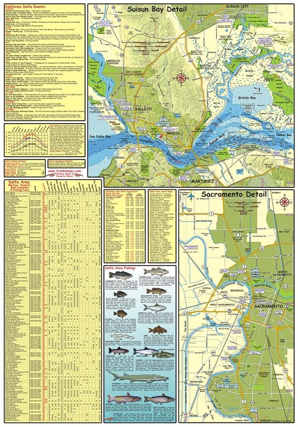 California Delta Waterways, Road and Recreation Map, California, America.