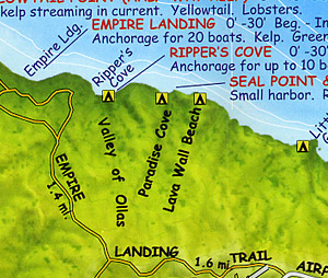 Catalina Island, Road and Recreation Map, California, America.