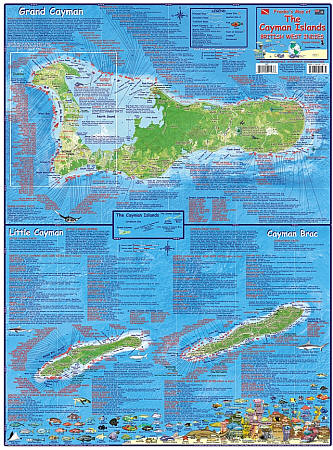 Cayman Islands Guide and Dive, Illustrated Road and Tourist Map, West Indies.