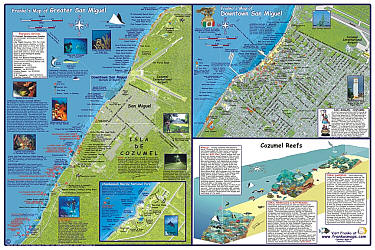 Cozumel Guide and Dive Tourist Road and Recreation Map, Mexico.